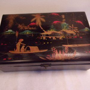 Vintage Oriental Theme Lacquered Wood Jewelry Box
